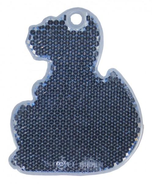 Fußgängerreflektor Dino - blau (Größe: ca. 7 cm) - optional mit Tampon-/Siebdruck