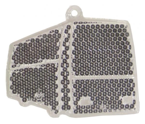 Fußgängerreflektor Bus - weiß (Größe: ca. 6,5 cm) - optional mit Tampon-/Siebdruck