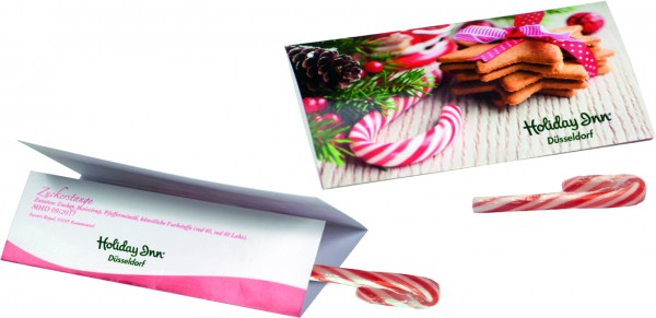 Klappkärtchen Candy Cane, 1-4 c Digitaldruck inklusive