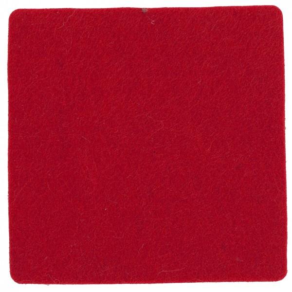 Polyesterfilz Untersetzer Quadrat (Filzstärke: ca. 5 mm) - rot - optional mit Siebdrucktransfer