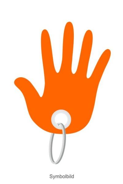 Filz Schlüsselanhänger - Hand - optional mit Aufdruck / Schlüsselring / Werbekarte