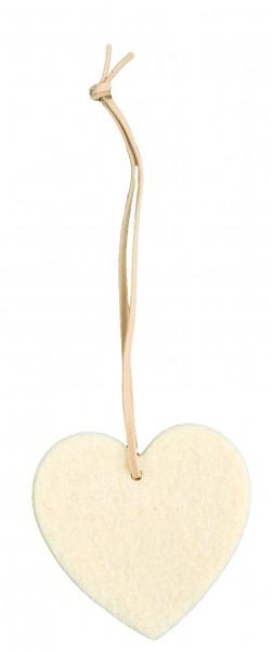 Filzanhänger Herz, klein (Filzstärke: 5 mm) - creme - optional mit Siebdrucktransfer