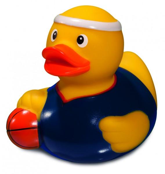 Quietsche-Ente Basketball - gelb (Größe: ca. 8 cm) - optional mit Tampondruck