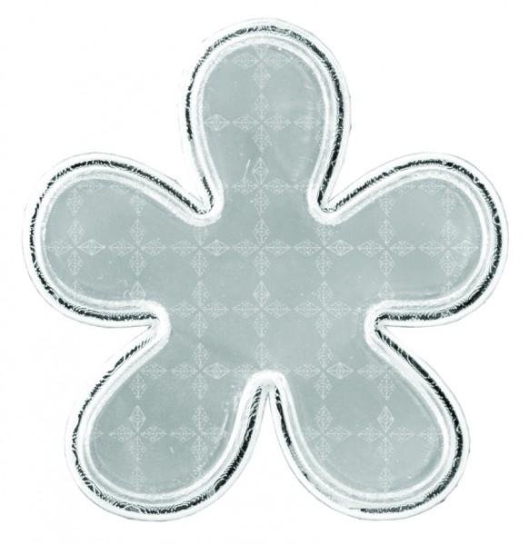 Weichplastiksticker Blume - silber (Größe: ca. 6,5 cm) - optional mit Siebdrucktransfer