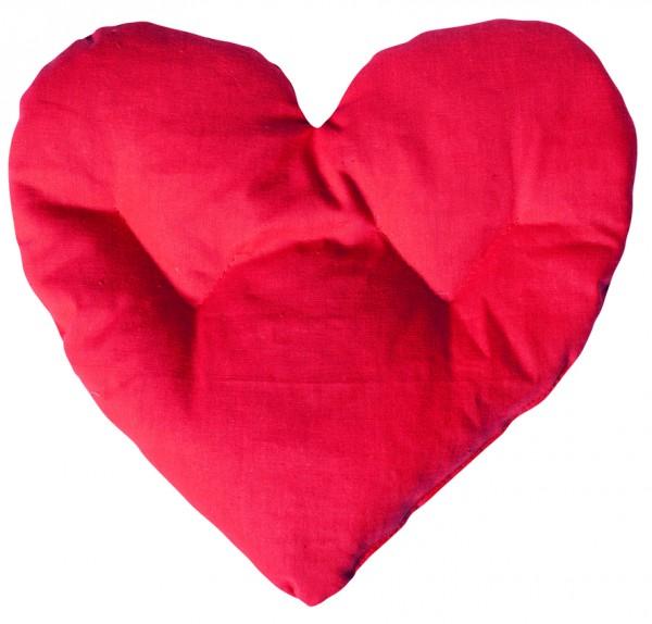 Getreidekissen/ Wärmekissen Herz - rot (Größe: ca. 27 cm) - optional mit Siebdrucktransfer