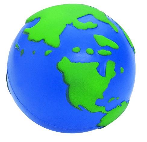 SQUEEZIES® Erdkugel - blau/grün (Größe: ca. 6,3 cm Durchmesser) - optional mit Tampondruck
