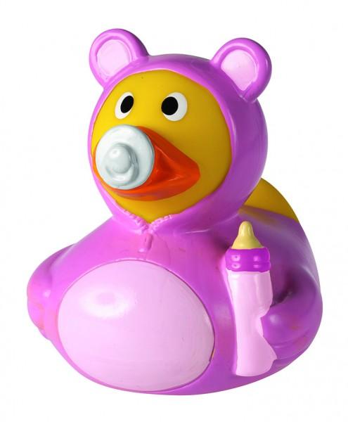 Quietsche-Ente Baby Mädchen - rosa (Größe: ca. 8 cm) - optional mit Tampondruck