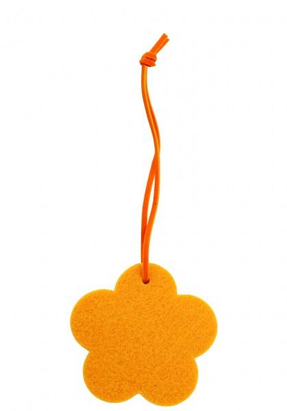 Polyesterfilz Anhänger Blume klein (Filzstärke: 5 mm) - gelb - optional mit Siebdrucktransfer