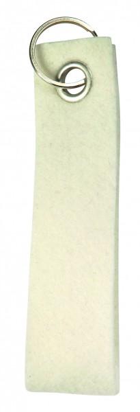 Polyesterfilz-Schlaufe Schlüsselband, groß (Filzstärke: ca. 2,5 mm) - weiß - optional mit Siebdruck