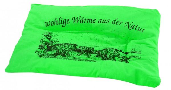 Getreidekissen/ Wärmekissen - grün (Größe: ca. 37 cm) - optional mit Siebdrucktransfer
