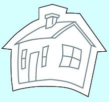 Weichplastiksticker Haus - neongelb (Größe: ca. 5,6 cm) - optional mit Siebdrucktransfer