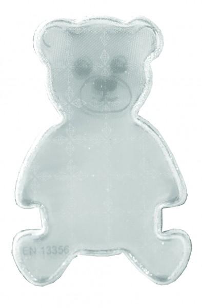 Weichplastiksticker Teddy - silber (Größe: ca. 4,1 cm) - optional mit Siebdrucktransfer
