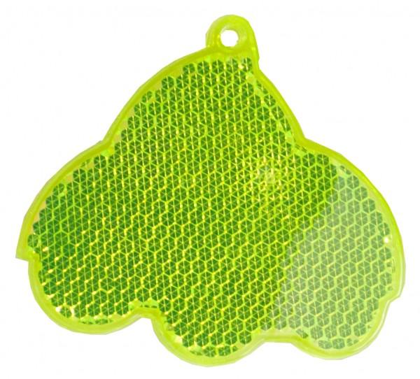 Fußgängerreflektor Auto - neongelb (Größe: ca. 6,5 cm) - optional mit Tampon-/Siebdruck
