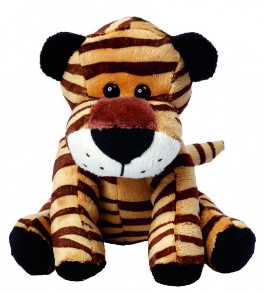 Zootier Tiger David - braun (Größe: ca. 18 cm) - optional mit Siebdrucktransfer, Direkttransfer