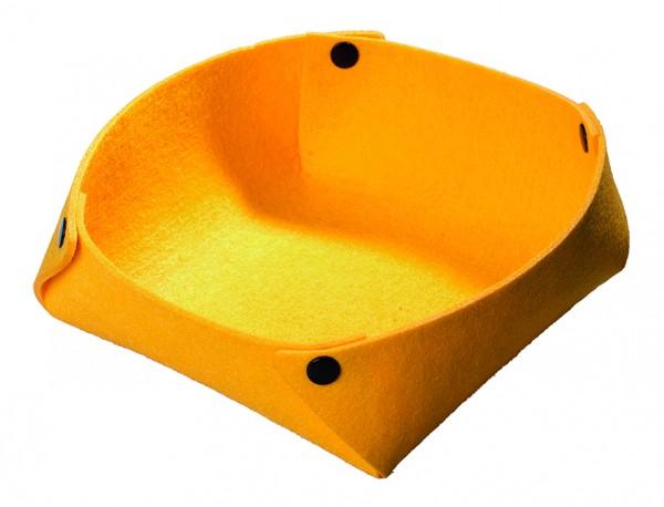 Filzkorb mit Druckknöpfen - gelb - optional mit Siebdrucktransfer