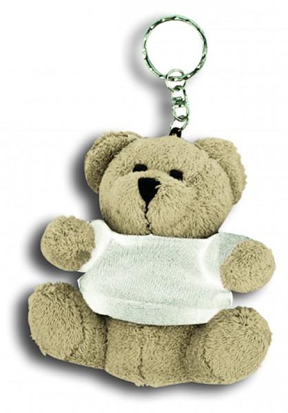Plüschbär angezogen mit T-Shirt und Schlüsselkette - hellbraun (Größe: ca. 8,5 cm) - optional mit Si