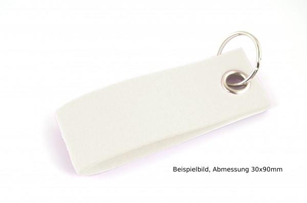 Schlüsselanhänger aus Filz in Weiß - Schlaufe ca. 120x30mm - made in Germany