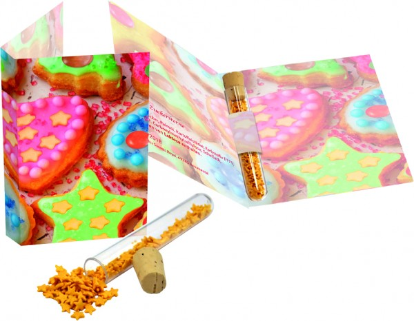 Klappkarte Zuckersterne, 1-4 c Digitaldruck inklusive