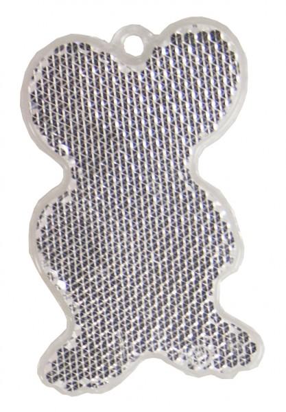 Fußgängerreflektor Maus - weiß (Größe: ca. 6,5 cm) - optional mit Tampon-/Siebdruck