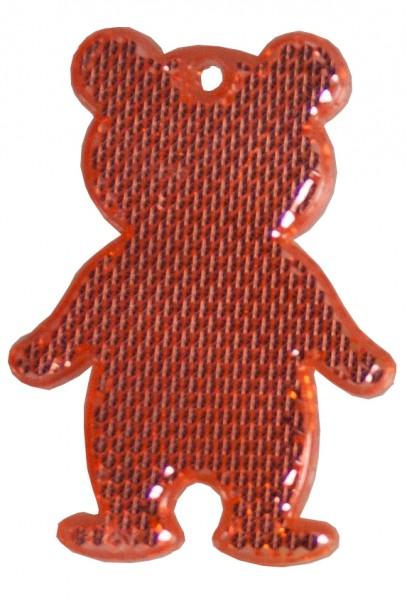 Fußgängerreflektor Bär - rot (Größe: ca. 7 cm) - optional mit Tampon-/Siebdruck