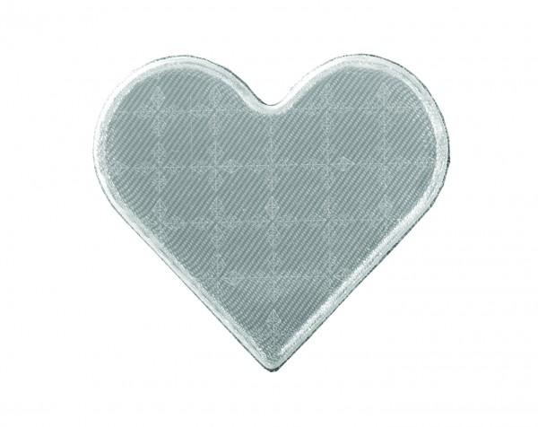 Weichplastiksticker Herz - silber (Größe: ca. 5,3 cm) - optional mit Siebdrucktransfer