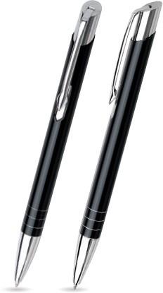 Schwarz glänzender LEILA -Metallkugelschreiber inkl. gratis Laser-Gravur mit Namen, Text oder Logo