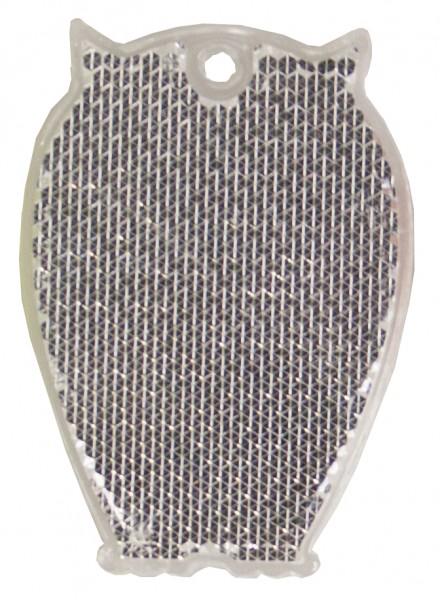 Fußgängerreflektor Eule - weiß (Größe: ca. 6,5 cm) - optional mit Tampon-/Siebdruck