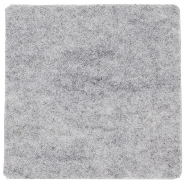 Polyesterfilz Untersetzer Quadrat (Filzstärke: ca. 3 mm) - grau - optional mit Siebdrucktransfer