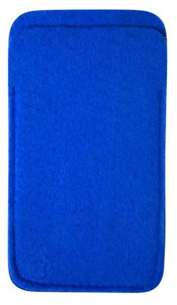 Polyesterfilz Smartphone-Tasche (Filzstärke: ca. 2,5 mm) - blau - optional mit Siebdrucktransfer