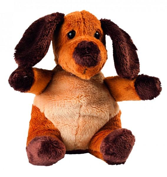 Plüsch Hund Gabriel - braun (Größe: ca. 14 cm) - optional mit Siebdrucktransfer, Direkttransfer
