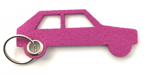 Auto - retro - Schlüsselanhänger aus Filz in magenta - optional mit Gravur / Aufdruck