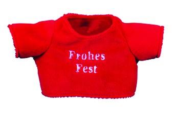 """Weihnachts-T-Shirt """"Frohes Fest"""" für Plüschtiere Gr. M - rot (Größe: passend für Plüschtiere) - opti"""