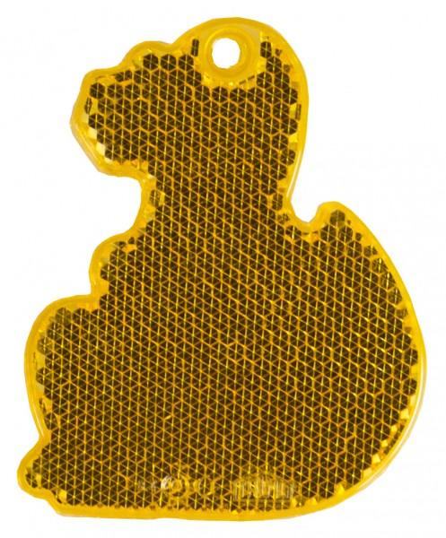 Fußgängerreflektor Dino - orange (Größe: ca. 7 cm) - optional mit Tampon-/Siebdruck