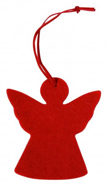 Filzanhänger Engel (Filzstärke: 5 mm) - rot - optional mit Siebdrucktransfer