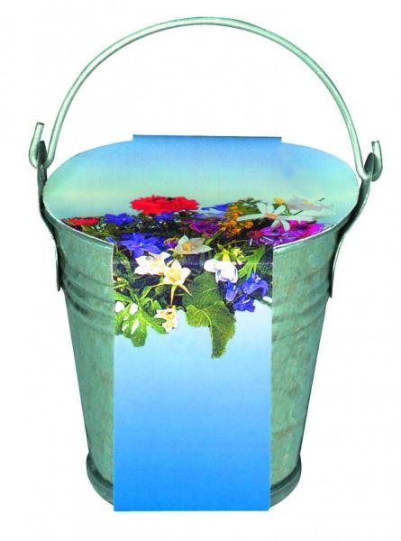 Zink-Eimerchen Blumenstrauß, bunte Blumenmischung, 1-4 c Digitaldruck inklusive