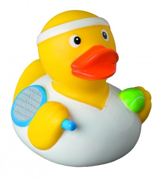 Quietsche-Ente Tennisspieler - gelb (Größe: ca. 8 cm) - optional mit Tampondruck