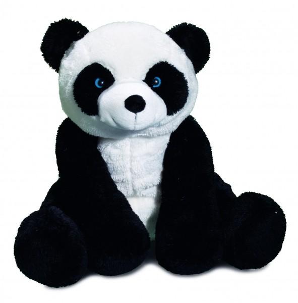 Zootier XL Panda - schwarz/weiß (Größe: ca. 30 cm) - optional mit Siebdrucktransfer, Direkttransfer