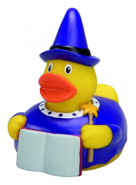 Quietsche-Ente Zauberer - bunt (Größe: ca. 8 cm) - optional mit Tampondruck