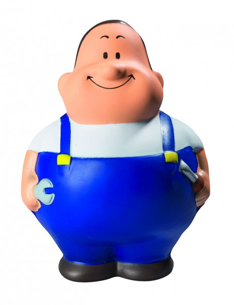 SQUEEZIES® Schrauber Bert®, blau - blau (Größe: ca. 10 cm) - optional mit Tampondruck