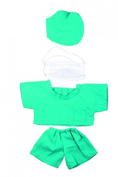 OP-Kleidung Gr. M - grün/weiß (Größe: passend für Plüschtiere) - optional mit Siebdrucktransfer
