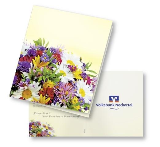 Klappkärtchen Bunte Blumenwelt, bunte Blumenmischung, 1-4 c Digitaldruck inklusive