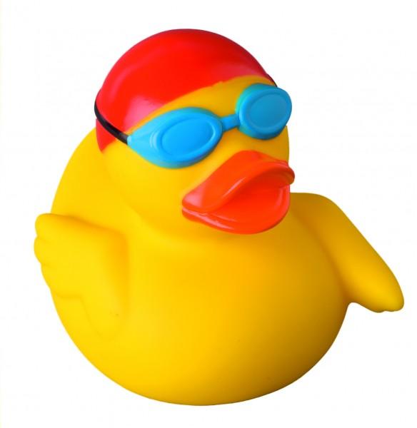 Quietsche-Ente Schwimmer - gelb (Größe: ca. 8 cm) - optional mit Tampondruck