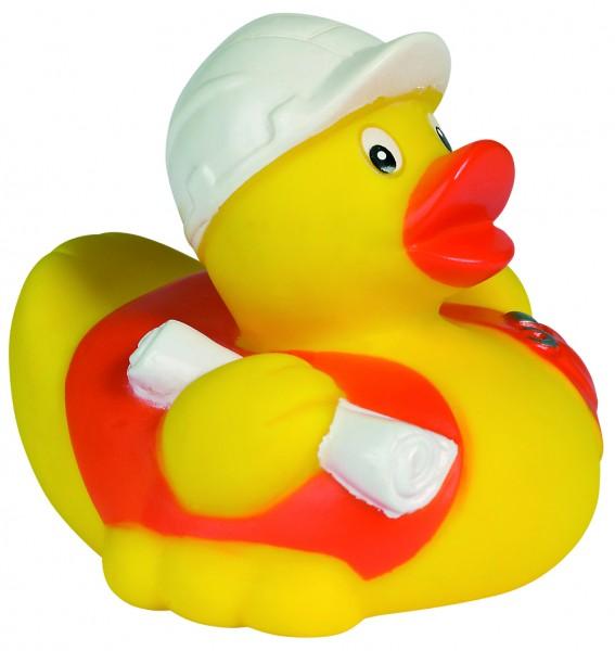 Quietsche-Ente Bauarbeiter - gelb (Größe: ca. 8 cm) - optional mit Tampondruck