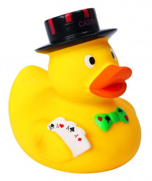 Quietsche-Ente Poker Ente - gelb (Größe: ca. 8 cm) - optional mit Tampondruck