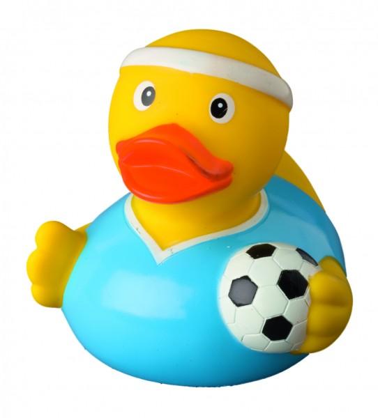 Quietsche-Ente Fußballer - gelb (Größe: ca. 8 cm) - optional mit Tampondruck