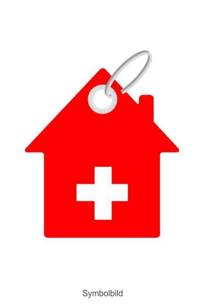 Filz Schlüsselanhänger - Haus mit Kreuz - optional mit Schlüsselring / Werbekarte