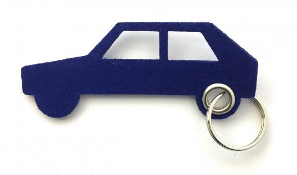 Auto - retro - Schlüsselanhänger aus Filz in royalblau - optional mit Gravur / Aufdruck