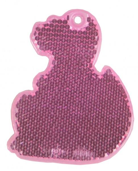 Fußgängerreflektor Dino - neonpink (Größe: ca. 7 cm) - optional mit Tampon-/Siebdruck