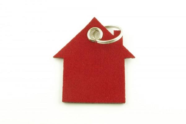 Filz Schlüsselanhänger - Haus - optional mit Aufdruck / Schlüsselring / Werbekarte