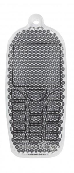 Fußgängerreflektor Handy - weiß (Größe: ca. 8 cm) - optional mit Tampon-/Siebdruck